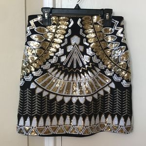 Sequin Print Skirt
